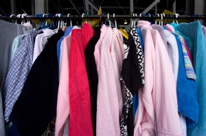 Racks of robes sorted by size and gender are ready for the bargain hunters.